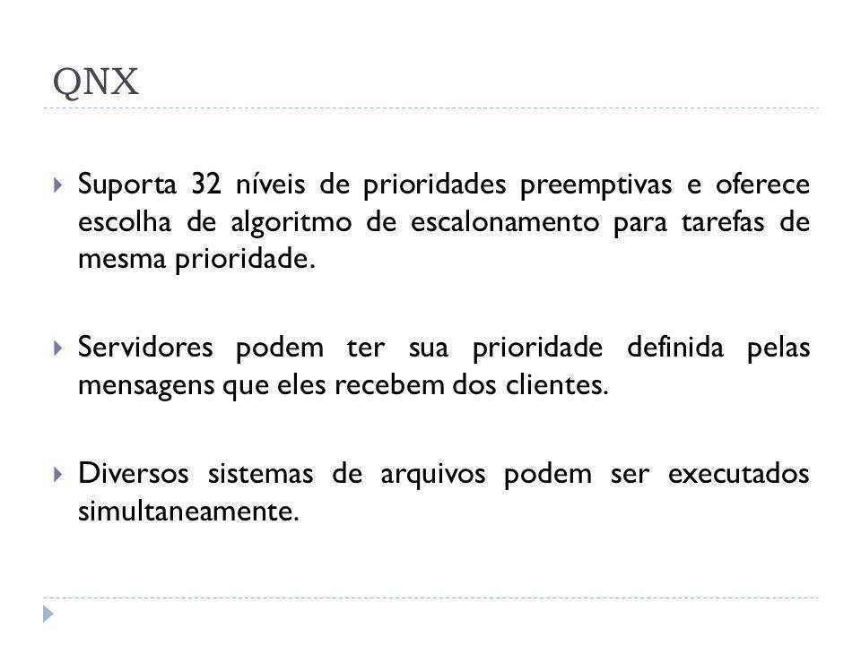 QNX Suporta 32 níveis de prioridades preemptivas e oferece escolha de algoritmo de escalonamento para tarefas de mesma prioridade. Servidores podem te