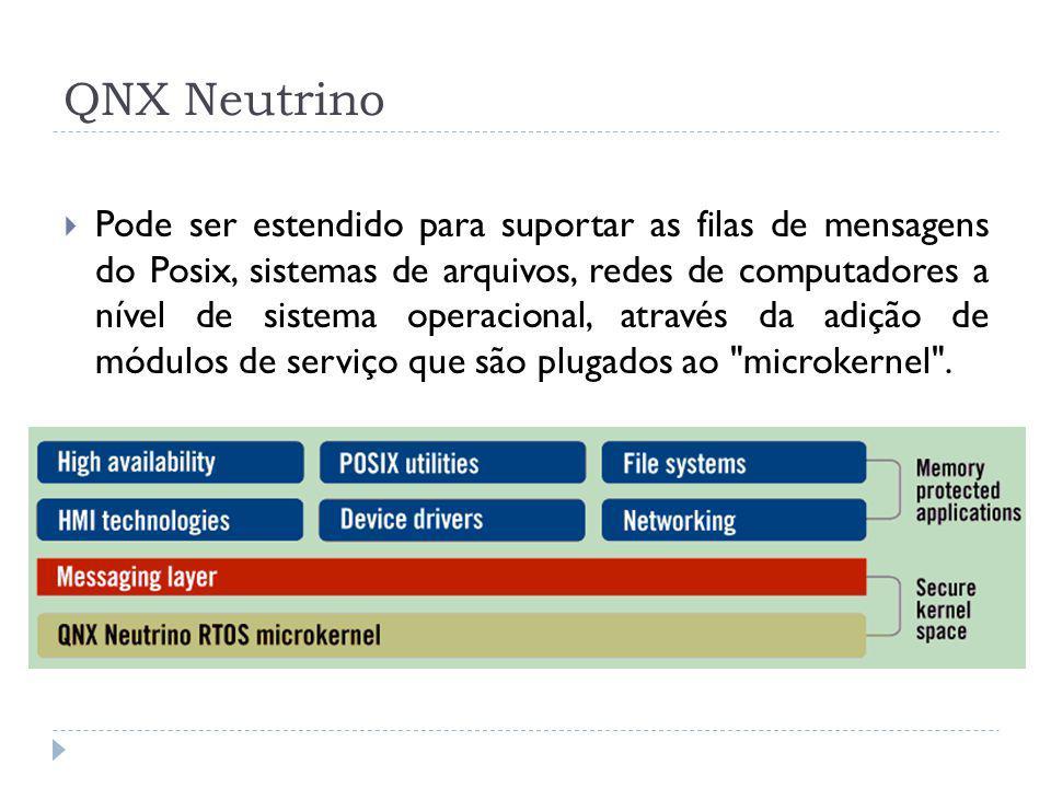 QNX Neutrino Pode ser estendido para suportar as filas de mensagens do Posix, sistemas de arquivos, redes de computadores a nível de sistema operacion