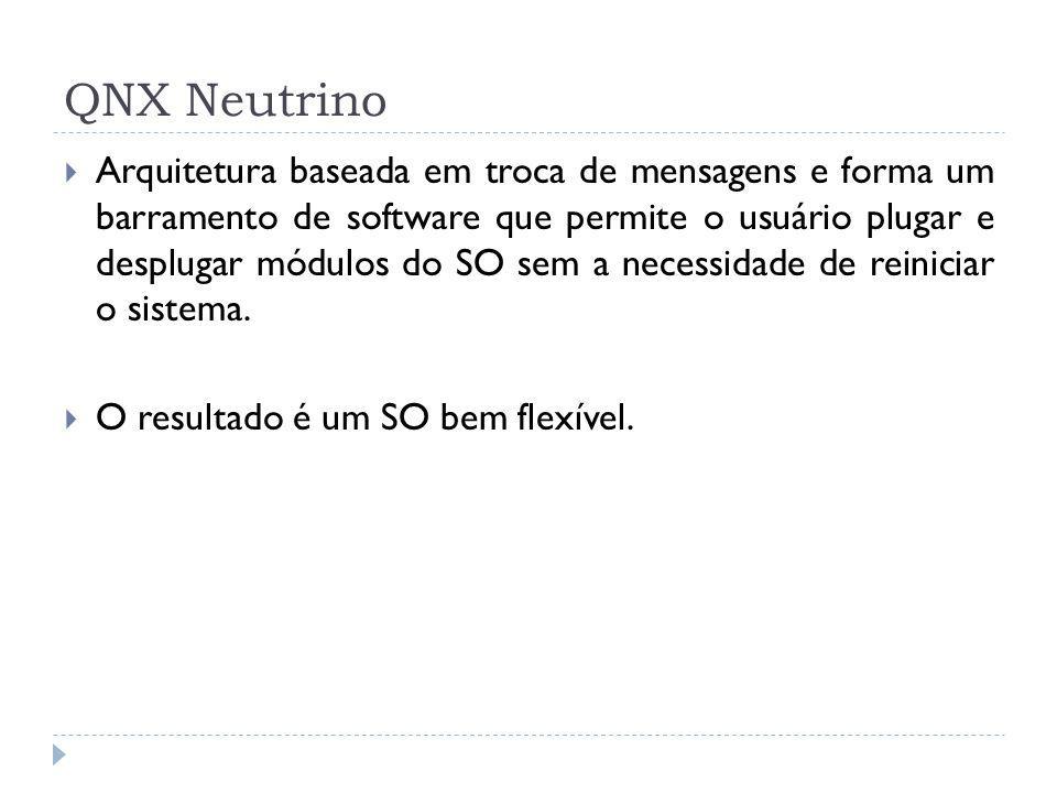 QNX Neutrino Arquitetura baseada em troca de mensagens e forma um barramento de software que permite o usuário plugar e desplugar módulos do SO sem a