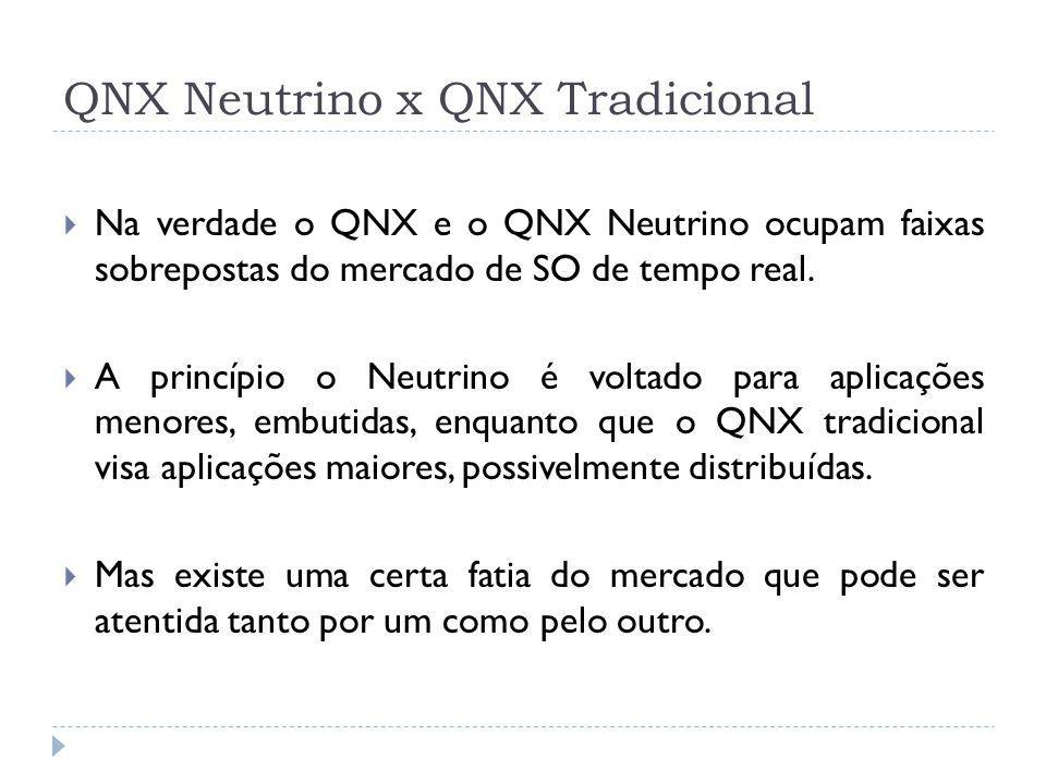 QNX Neutrino x QNX Tradicional Na verdade o QNX e o QNX Neutrino ocupam faixas sobrepostas do mercado de SO de tempo real. A princípio o Neutrino é vo