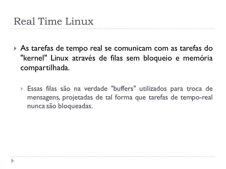 Real Time Linux As tarefas de tempo real se comunicam com as tarefas do
