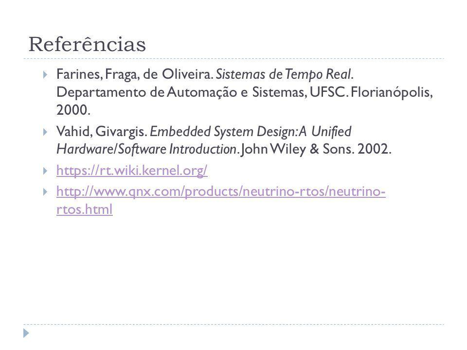 Referências Farines, Fraga, de Oliveira. Sistemas de Tempo Real. Departamento de Automação e Sistemas, UFSC. Florianópolis, 2000. Vahid, Givargis. Emb