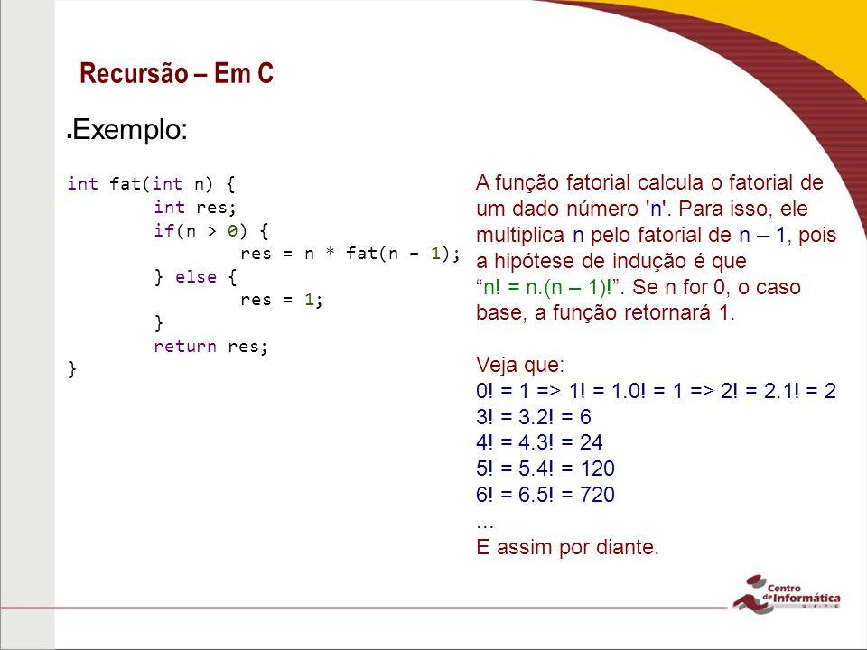 Recursão – Em C A função fatorial calcula o fatorial de um dado número 'n'. Para isso, ele multiplica n pelo fatorial de n – 1, pois a hipótese de ind