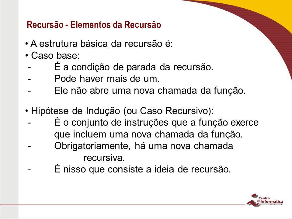 Recursão - Elementos da Recursão A estrutura básica da recursão é: Caso base: - É a condição de parada da recursão. - Pode haver mais de um. - Ele não