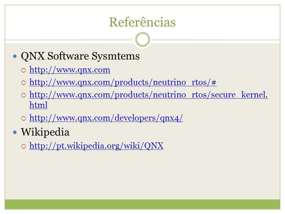 Referências QNX Software Sysmtems http://www.qnx.com http://www.qnx.com/products/neutrino_rtos/# http://www.qnx.com/products/neutrino_rtos/secure_kern