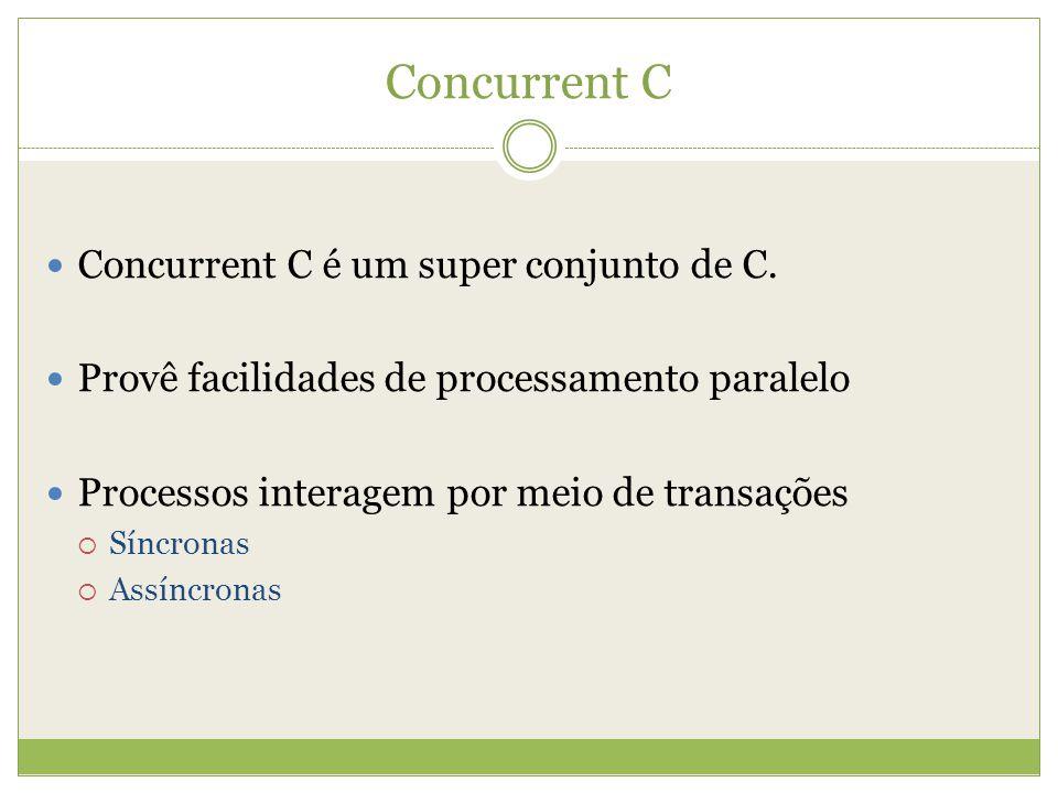 Concurrent C Concurrent C é um super conjunto de C. Provê facilidades de processamento paralelo Processos interagem por meio de transações Síncronas A