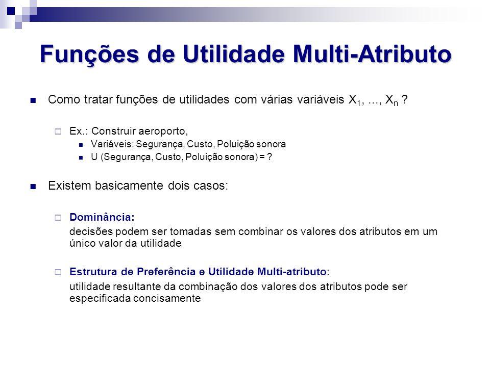 Funções de Utilidade Multi-Atributo Como tratar funções de utilidades com várias variáveis X 1,..., X n ? Ex.: Construir aeroporto, Variáveis: Seguran