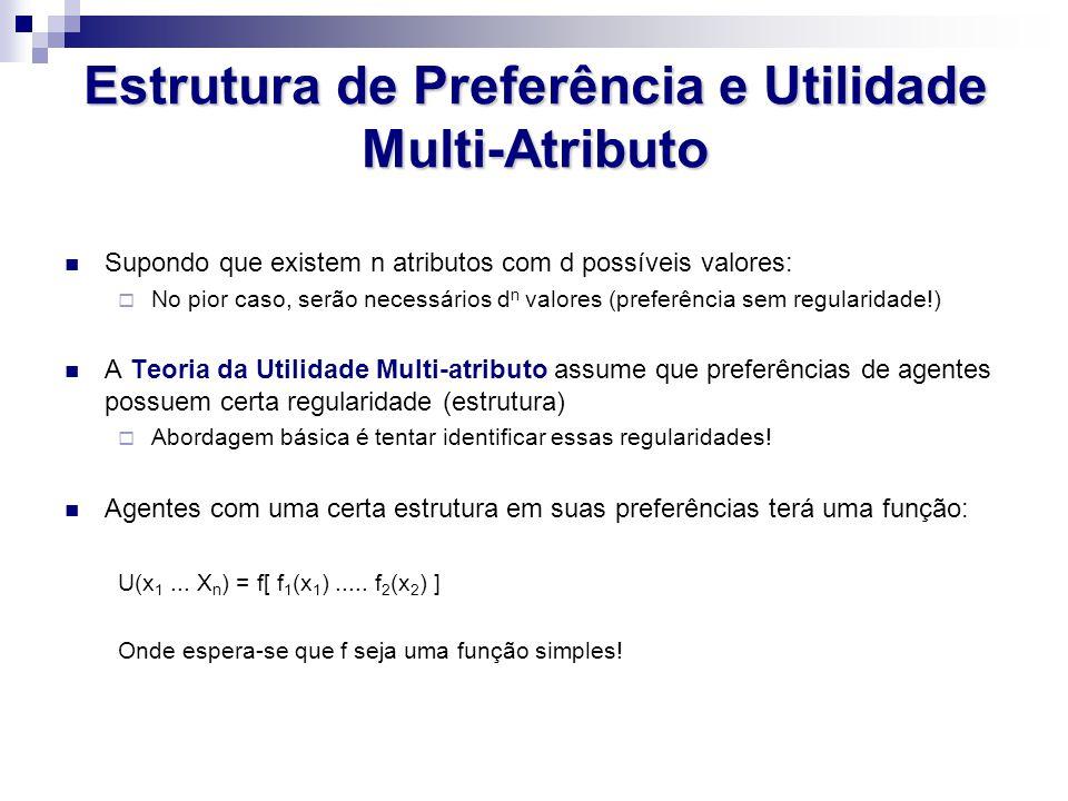 Estrutura de Preferência e Utilidade Multi-Atributo Supondo que existem n atributos com d possíveis valores: No pior caso, serão necessários d n valor