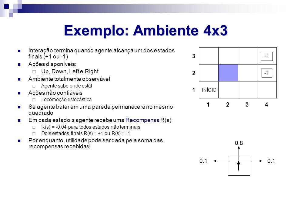 Exemplo: Ambiente 4x3 Interação termina quando agente alcança um dos estados finais (+1 ou -1) Ações disponíveis: Up, Down, Left e Right Ambiente tota