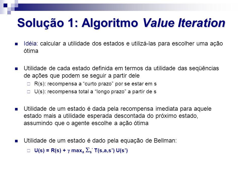 Solução 1: Algoritmo Value Iteration Idéia: calcular a utilidade dos estados e utilizá-las para escolher uma ação ótima Utilidade de cada estado defin