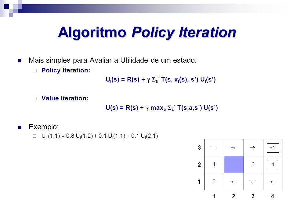 Algoritmo Policy Iteration Mais simples para Avaliar a Utilidade de um estado: Policy Iteration: U i (s) = R(s) + s T(s, i (s), s) U i (s) Value Itera