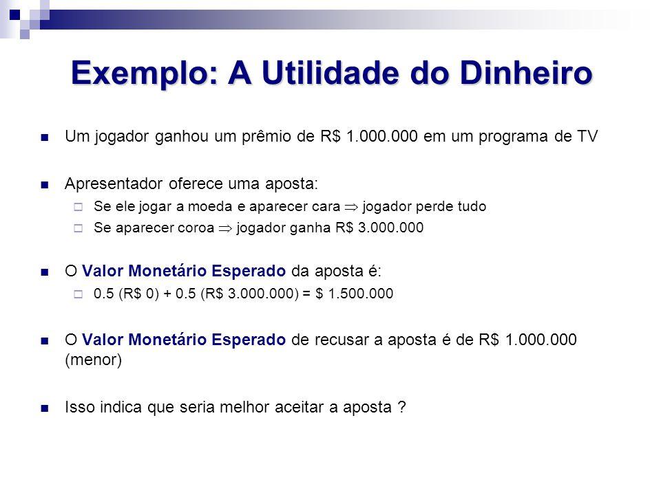 Exemplo: A Utilidade do Dinheiro Um jogador ganhou um prêmio de R$ 1.000.000 em um programa de TV Apresentador oferece uma aposta: Se ele jogar a moed