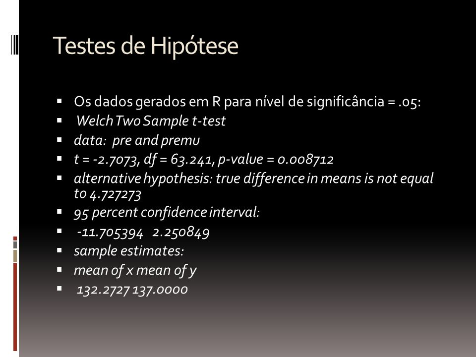 Testes de Hipótese Para nível de significância =.01 Welch Two Sample t-test data: pre and premu t = -2.7073, df = 63.241, p-value = 0.008712 alternative hypothesis: true difference in means is not equal to 4.727273 99 percent confidence interval: -14.002011 4.547466 sample estimates: mean of x mean of y 132.2727 137.0000