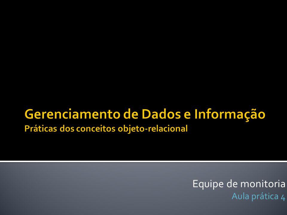 Inserção de endereço Inserção de cliente insert into tb_cliente (cpf,rg, nome, endereco) values ( 422.544.623-88 , 9856158 , Roberto Leite Santiago , (select REF(e) from tb_endereco e where e.idEndereco = 1)); insert into tb_endereco (idEndereco, logradouro, cep, numero, bairro) values (1, Avenida joão de barros , 52021- 180 ,1347, espinheiro ); insert into tb_cliente (cpf,rg, nome, endereco) values ( 123.456.789-54 , 6396327 , Maria Leite Santiago , (select REF(e) from tb_endereco e where e.idEndereco = 1));
