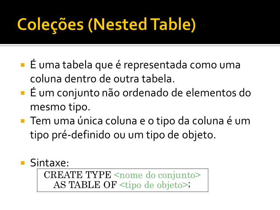 É uma tabela que é representada como uma coluna dentro de outra tabela. É um conjunto não ordenado de elementos do mesmo tipo. Tem uma única coluna e