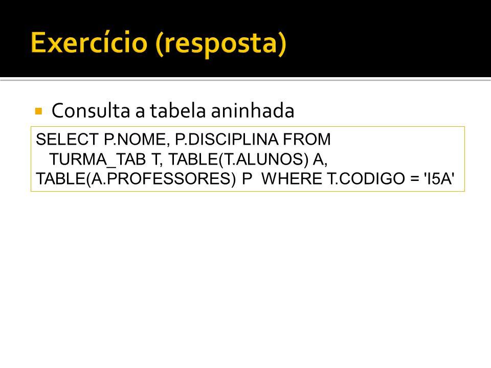 Consulta a tabela aninhada SELECT P.NOME, P.DISCIPLINA FROM TURMA_TAB T, TABLE(T.ALUNOS) A, TABLE(A.PROFESSORES) P WHERE T.CODIGO = 'I5A'