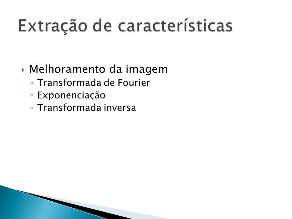 Transformada de Fourier Imagem original Parte real da imagem transformada Parte imaginária da imagem transformada