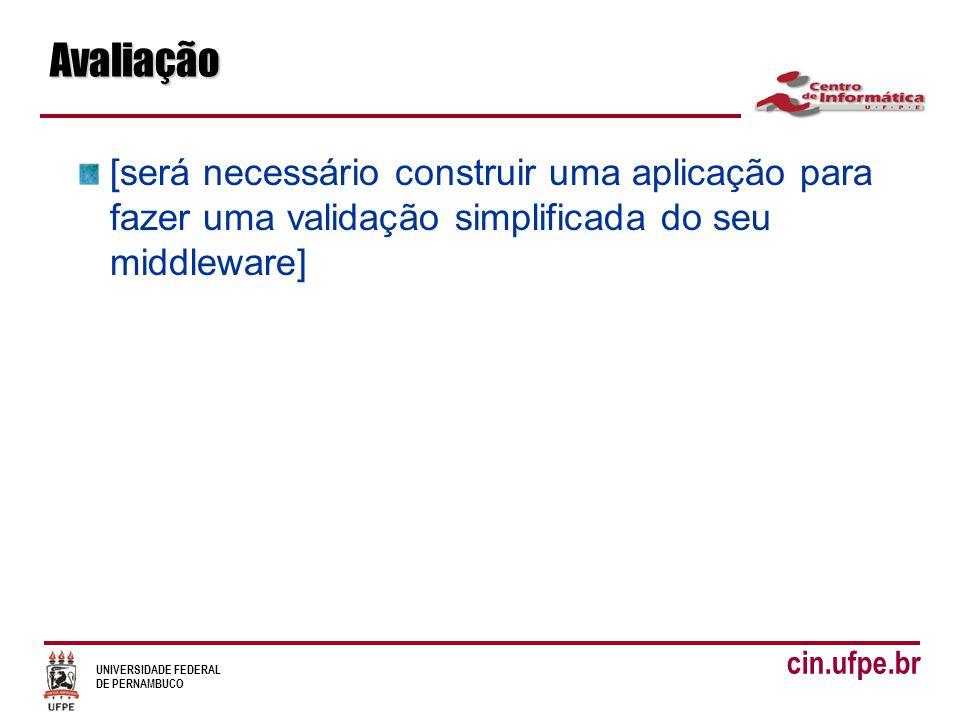 UNIVERSIDADE FEDERAL DE PERNAMBUCO cin.ufpe.brAvaliação [será necessário construir uma aplicação para fazer uma validação simplificada do seu middleware]