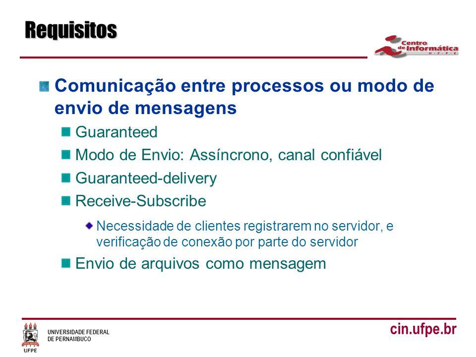 UNIVERSIDADE FEDERAL DE PERNAMBUCO cin.ufpe.brRequisitos Comunicação entre processos ou modo de envio de mensagens Guaranteed Modo de Envio: Assíncrono, canal confiável Guaranteed-delivery Receive-Subscribe Necessidade de clientes registrarem no servidor, e verificação de conexão por parte do servidor Envio de arquivos como mensagem