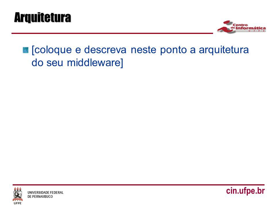UNIVERSIDADE FEDERAL DE PERNAMBUCO cin.ufpe.brArquitetura [coloque e descreva neste ponto a arquitetura do seu middleware]