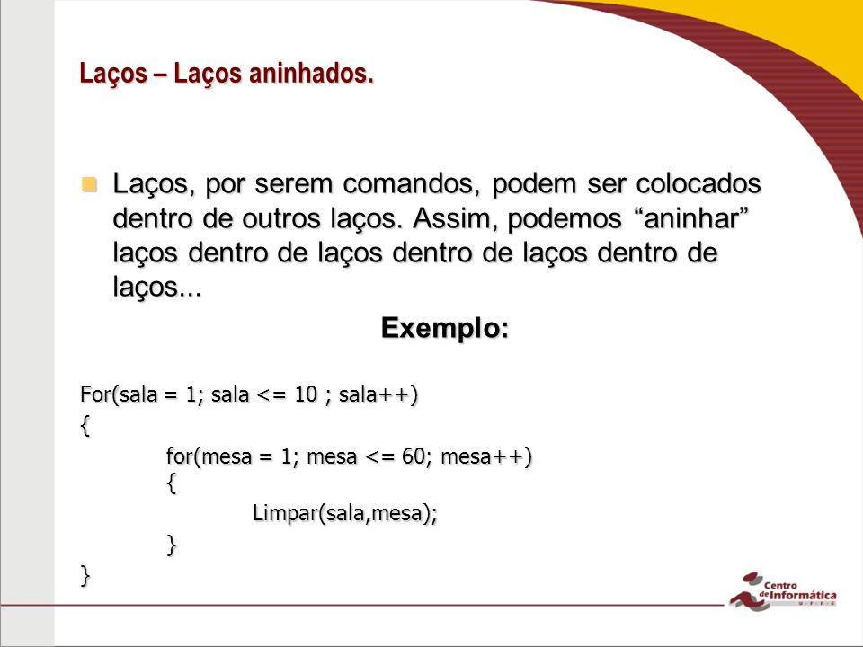 Laços – Observações Nos 3 tipos de laço, devemos tomar cuidado com a condição: Se ela nunca for falsa, o código entrará num laço infinito, efetivamente travando seu programa.