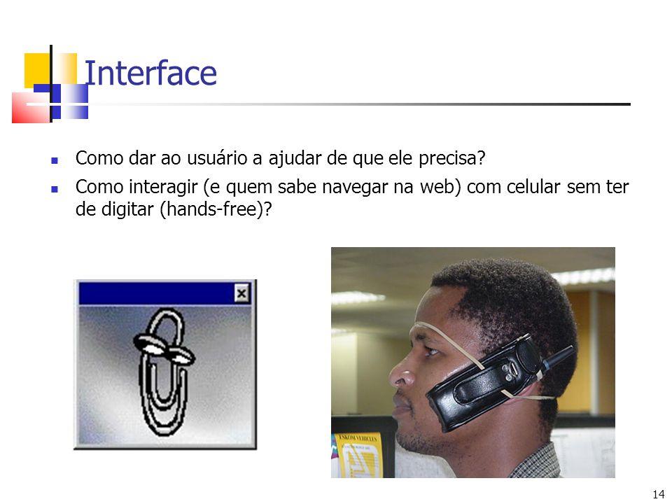 14 Interface Como dar ao usuário a ajudar de que ele precisa? Como interagir (e quem sabe navegar na web) com celular sem ter de digitar (hands-free)?