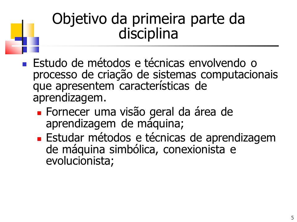 5 Objetivo da primeira parte da disciplina Estudo de métodos e técnicas envolvendo o processo de criação de sistemas computacionais que apresentem car