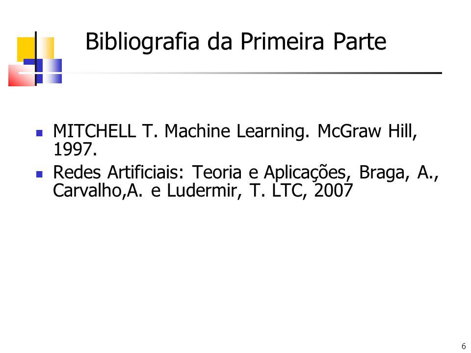 6 Bibliografia da Primeira Parte MITCHELL T. Machine Learning. McGraw Hill, 1997. Redes Artificiais: Teoria e Aplicações, Braga, A., Carvalho,A. e Lud