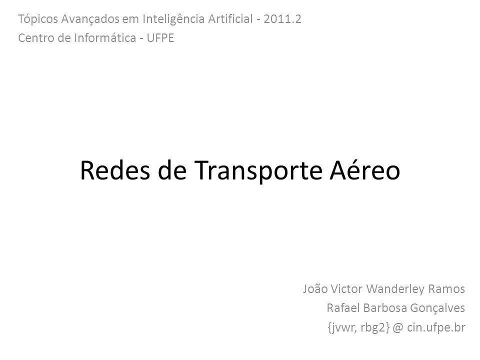 Redes de Transporte Aéreo João Victor Wanderley Ramos Rafael Barbosa Gonçalves {jvwr, rbg2} @ cin.ufpe.br Tópicos Avançados em Inteligência Artificial