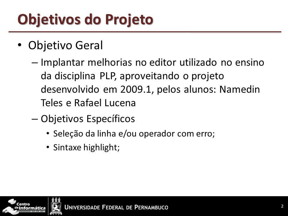Objetivos do Projeto Objetivo Geral – Implantar melhorias no editor utilizado no ensino da disciplina PLP, aproveitando o projeto desenvolvido em 2009