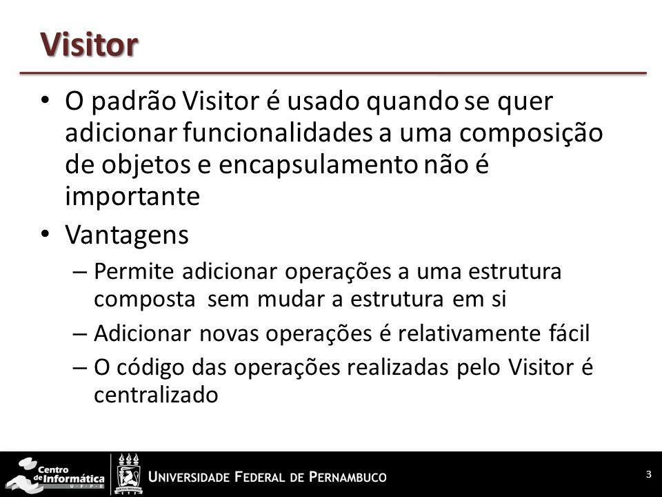Visitor O padrão Visitor é usado quando se quer adicionar funcionalidades a uma composição de objetos e encapsulamento não é importante Vantagens – Pe