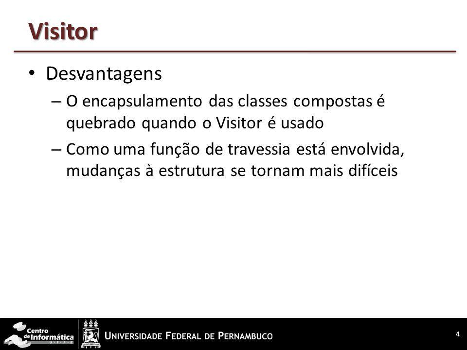 Visitor Desvantagens – O encapsulamento das classes compostas é quebrado quando o Visitor é usado – Como uma função de travessia está envolvida, mudan