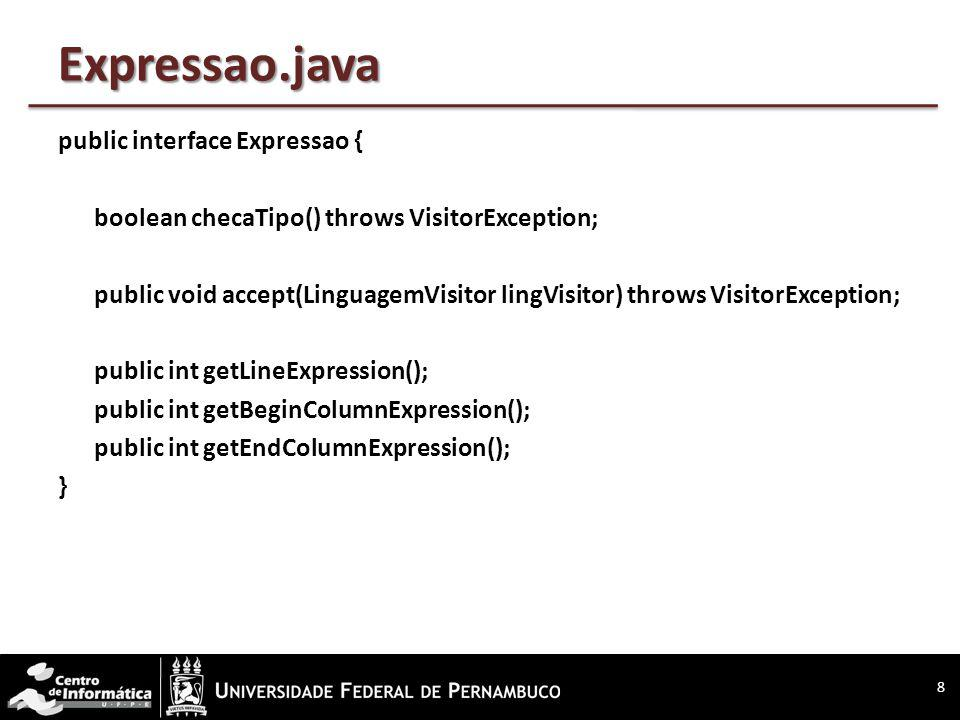 Expressao.java public interface Expressao { boolean checaTipo() throws VisitorException; public void accept(LinguagemVisitor lingVisitor) throws VisitorException; public int getLineExpression(); public int getBeginColumnExpression(); public int getEndColumnExpression(); } 8