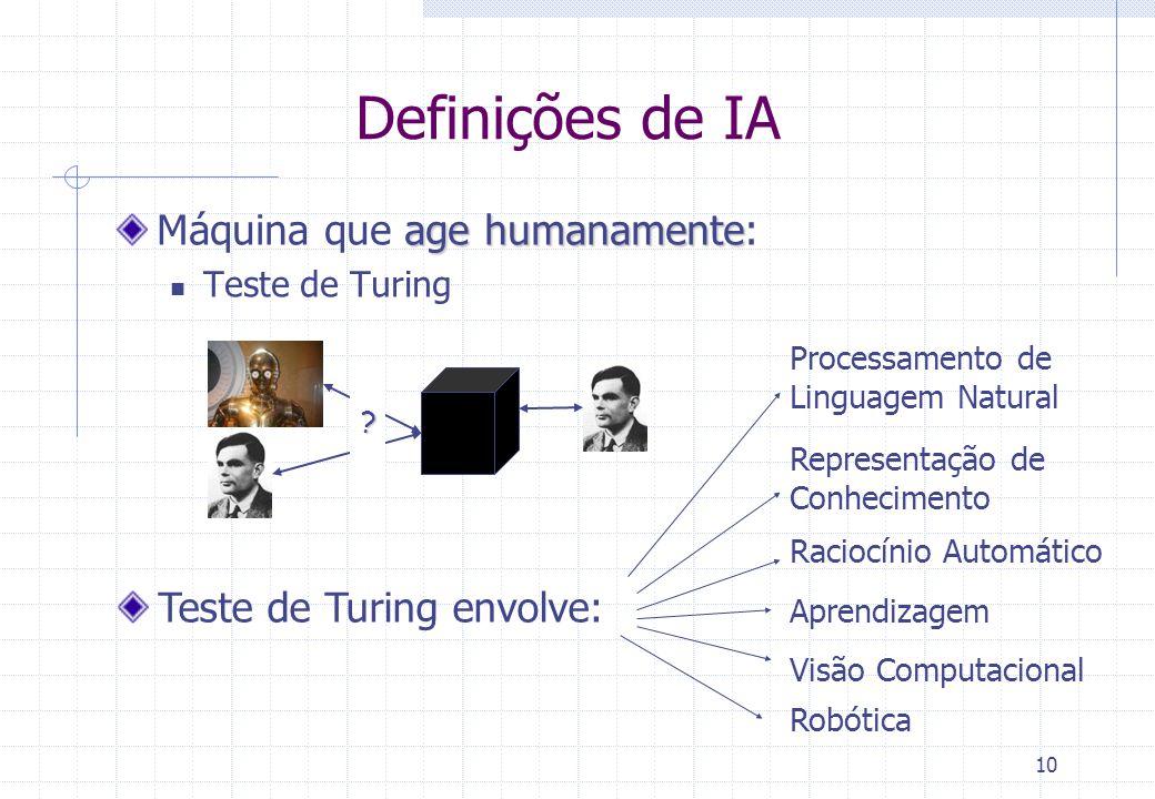 10 Definições de IA age humanamente Máquina que age humanamente: Teste de Turing ? Teste de Turing envolve: Processamento de Linguagem Natural Represe