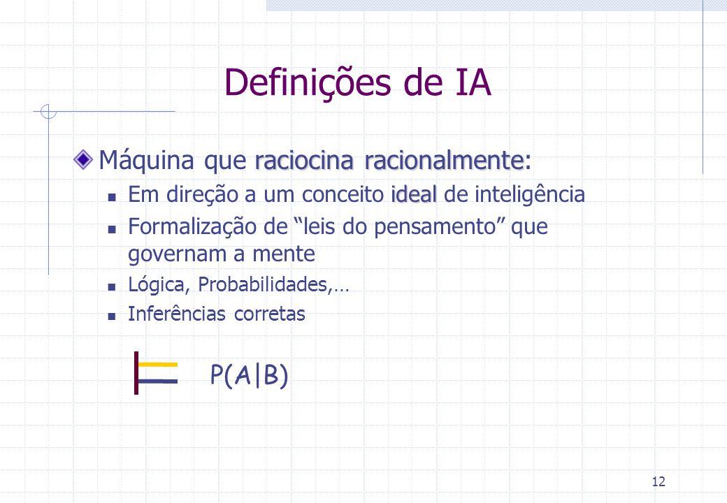 12 Definições de IA raciocina racionalmente Máquina que raciocina racionalmente: ideal Em direção a um conceito ideal de inteligência Formalização de
