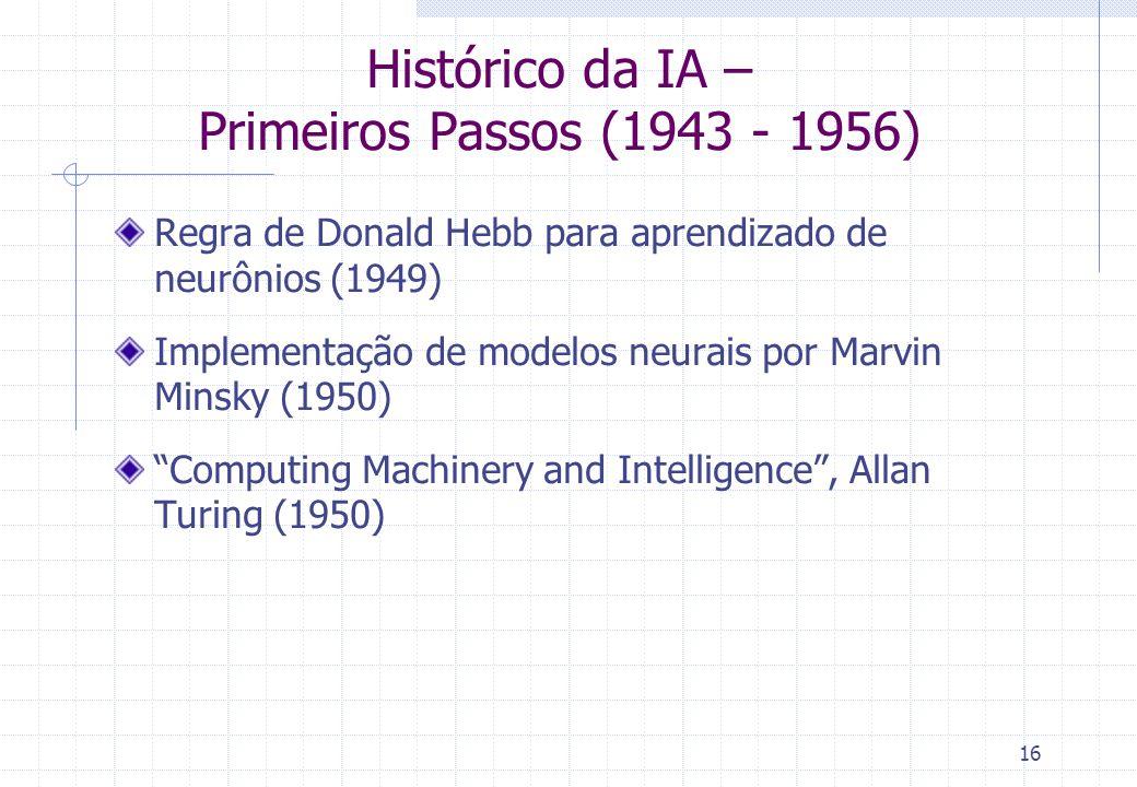 16 Histórico da IA – Primeiros Passos (1943 - 1956) Regra de Donald Hebb para aprendizado de neurônios (1949) Implementação de modelos neurais por Mar