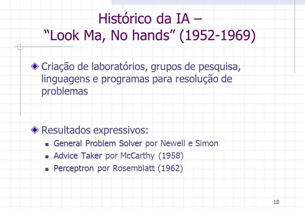 18 Histórico da IA – Look Ma, No hands (1952-1969) Criação de laboratórios, grupos de pesquisa, linguagens e programas para resolução de problemas Res