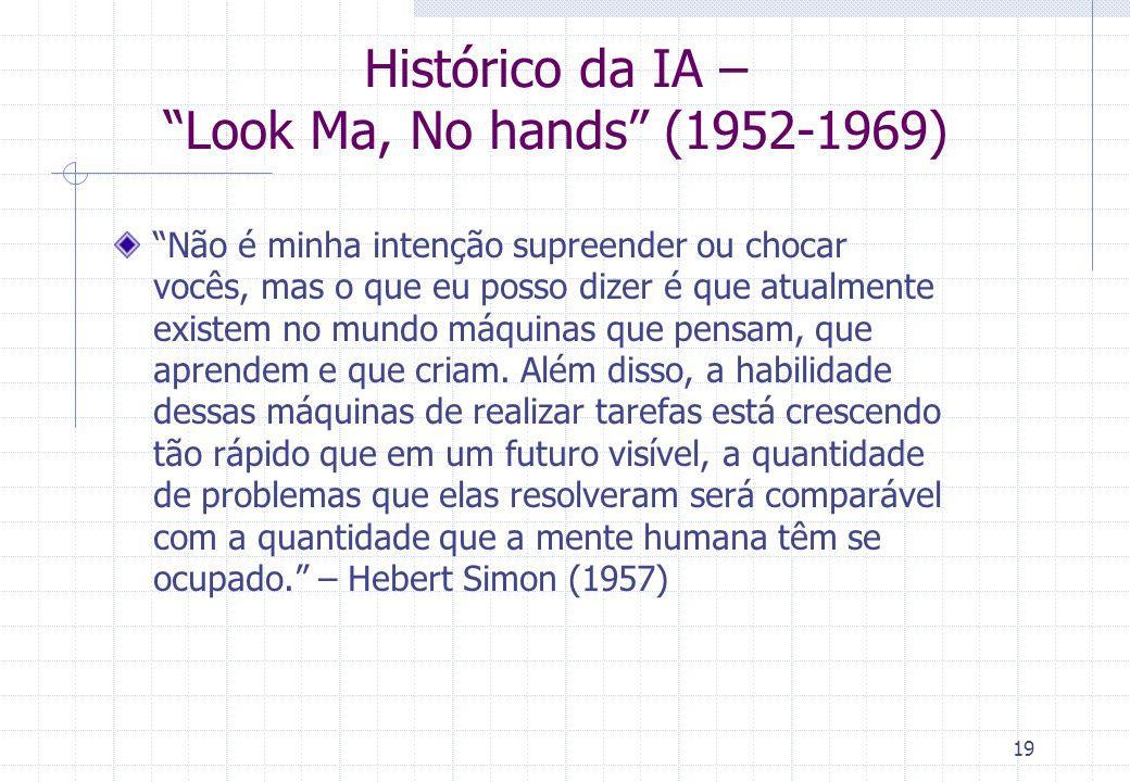 19 Histórico da IA – Look Ma, No hands (1952-1969) Não é minha intenção supreender ou chocar vocês, mas o que eu posso dizer é que atualmente existem