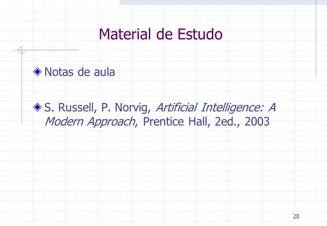 28 Material de Estudo Notas de aula S. Russell, P. Norvig, Artificial Intelligence: A Modern Approach, Prentice Hall, 2ed., 2003