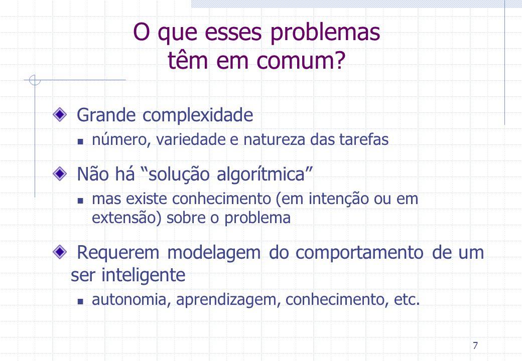 7 O que esses problemas têm em comum? Grande complexidade número, variedade e natureza das tarefas Não há solução algorítmica mas existe conhecimento