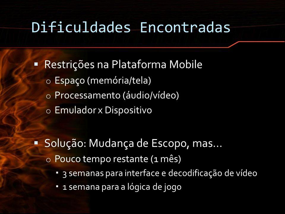 Dificuldades Encontradas Restrições na Plataforma Mobile o Espaço (memória/tela) o Processamento (áudio/vídeo) o Emulador x Dispositivo Solução: Mudan