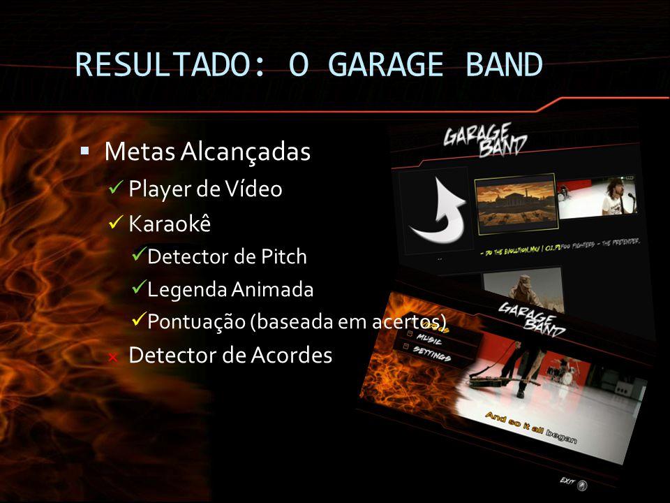 RESULTADO: O GARAGE BAND Metas Alcançadas Player de Vídeo Karaokê Detector de Pitch Legenda Animada Pontuação (baseada em acertos) × Detector de Acord
