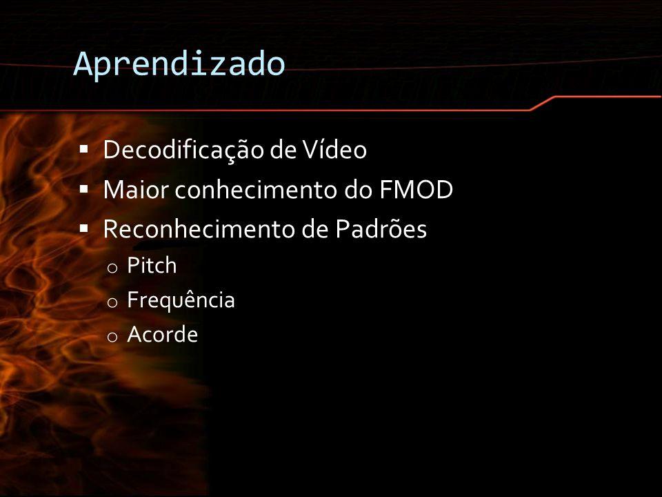 Aprendizado Decodificação de Vídeo Maior conhecimento do FMOD Reconhecimento de Padrões o Pitch o Frequência o Acorde