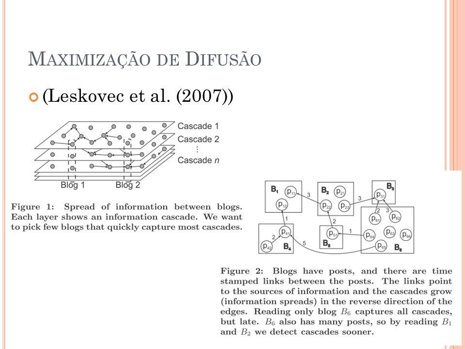 M AXIMIZAÇÃO DE D IFUSÃO (Leskovec et al. (2007))