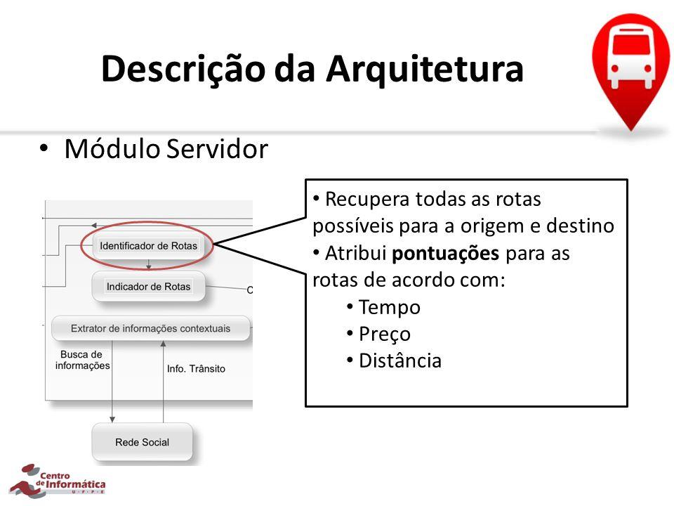 Descrição da Arquitetura Módulo Servidor Recupera todas as rotas possíveis para a origem e destino Atribui pontuações para as rotas de acordo com: Tem