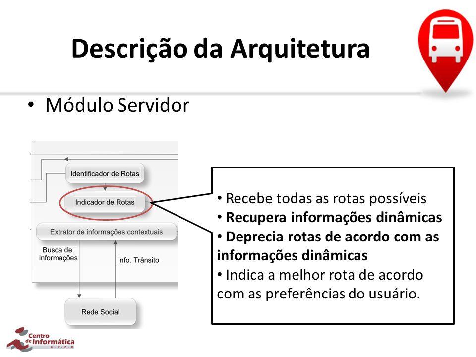 Descrição da Arquitetura Módulo Servidor Recebe todas as rotas possíveis Recupera informações dinâmicas Deprecia rotas de acordo com as informações di
