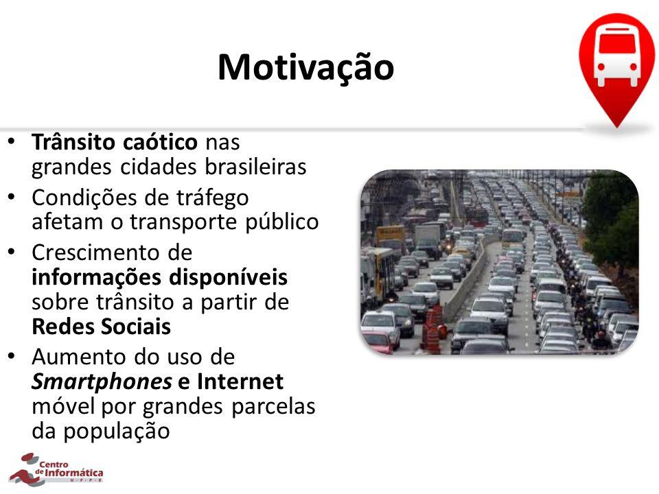 Motivação Trânsito caótico nas grandes cidades brasileiras Condições de tráfego afetam o transporte público Crescimento de informações disponíveis sob
