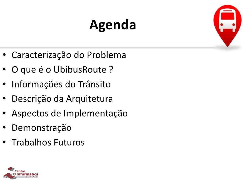 Agenda Caracterização do Problema O que é o UbibusRoute ? Informações do Trânsito Descrição da Arquitetura Aspectos de Implementação Demonstração Trab