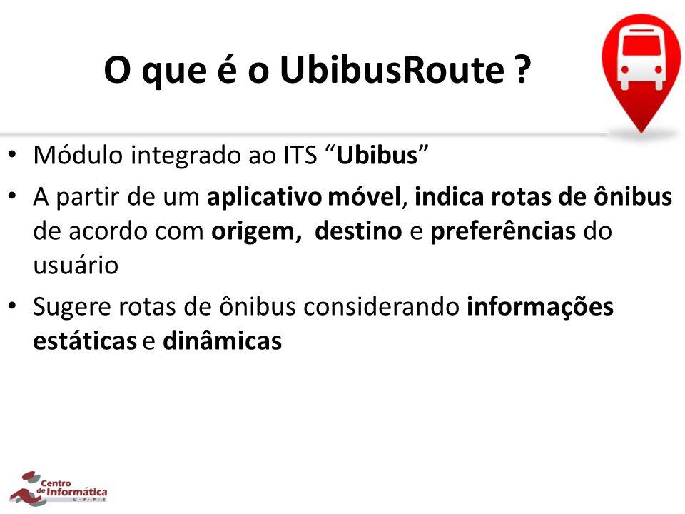 O que é o UbibusRoute ? Módulo integrado ao ITS Ubibus A partir de um aplicativo móvel, indica rotas de ônibus de acordo com origem, destino e preferê