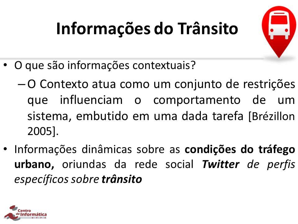Informações do Trânsito O que são informações contextuais? – O Contexto atua como um conjunto de restrições que influenciam o comportamento de um sist